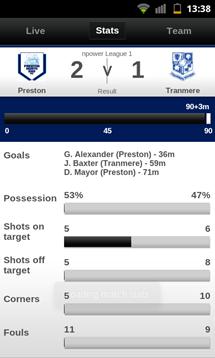 football league clubs app match stats