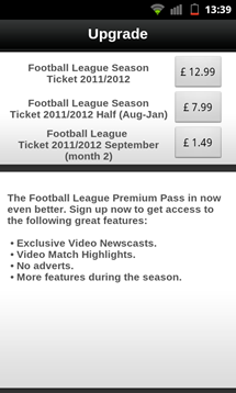 football league clubs app video prices