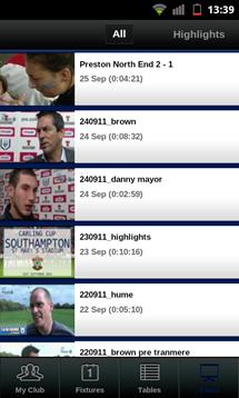 football league clubs app videos