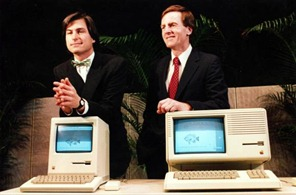 Apple-Computer-Companys-Chairman-Steve-Jobs-L-and-President-John-Sculley-R-display-new-computer-hardware_3
