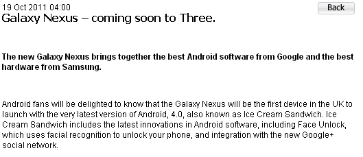 three uk galaxy nexus press announcement