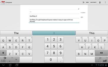 SwiftKey 3 Tablet - Split Keyboard with Light Theme