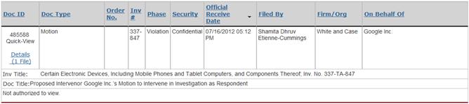 12-07-16 ITC-847 Google motion to intervene