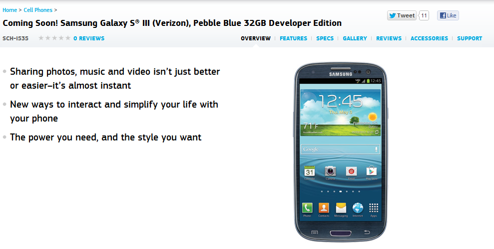 Samsung's Developer Version Of The Galaxy S III Shows Up On