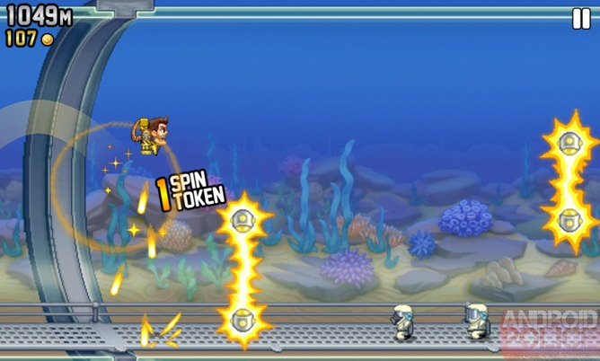 Barry runs constantly to advance the side-scrolling level, making Jetpack Joyride ...