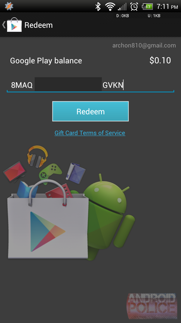how to use a gift card for google play