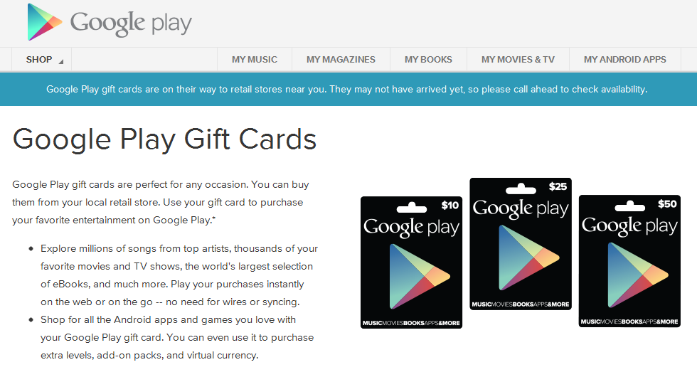 play store gift card pages are now live 39 on their way to retail stores near you 39. Black Bedroom Furniture Sets. Home Design Ideas