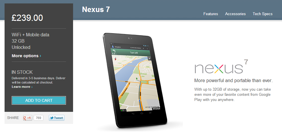 Nexus 7 Now on Sale in Spain on Google Play