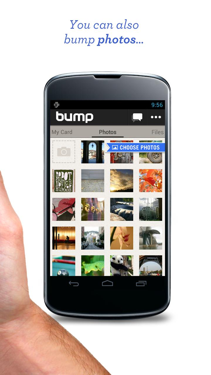 bump app updated  finally supports file transfers