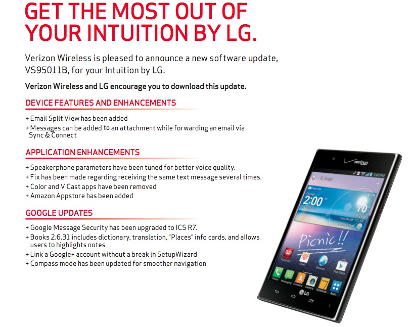Verizon Approves Build VS95011B For The LG Intuition, Should Begin