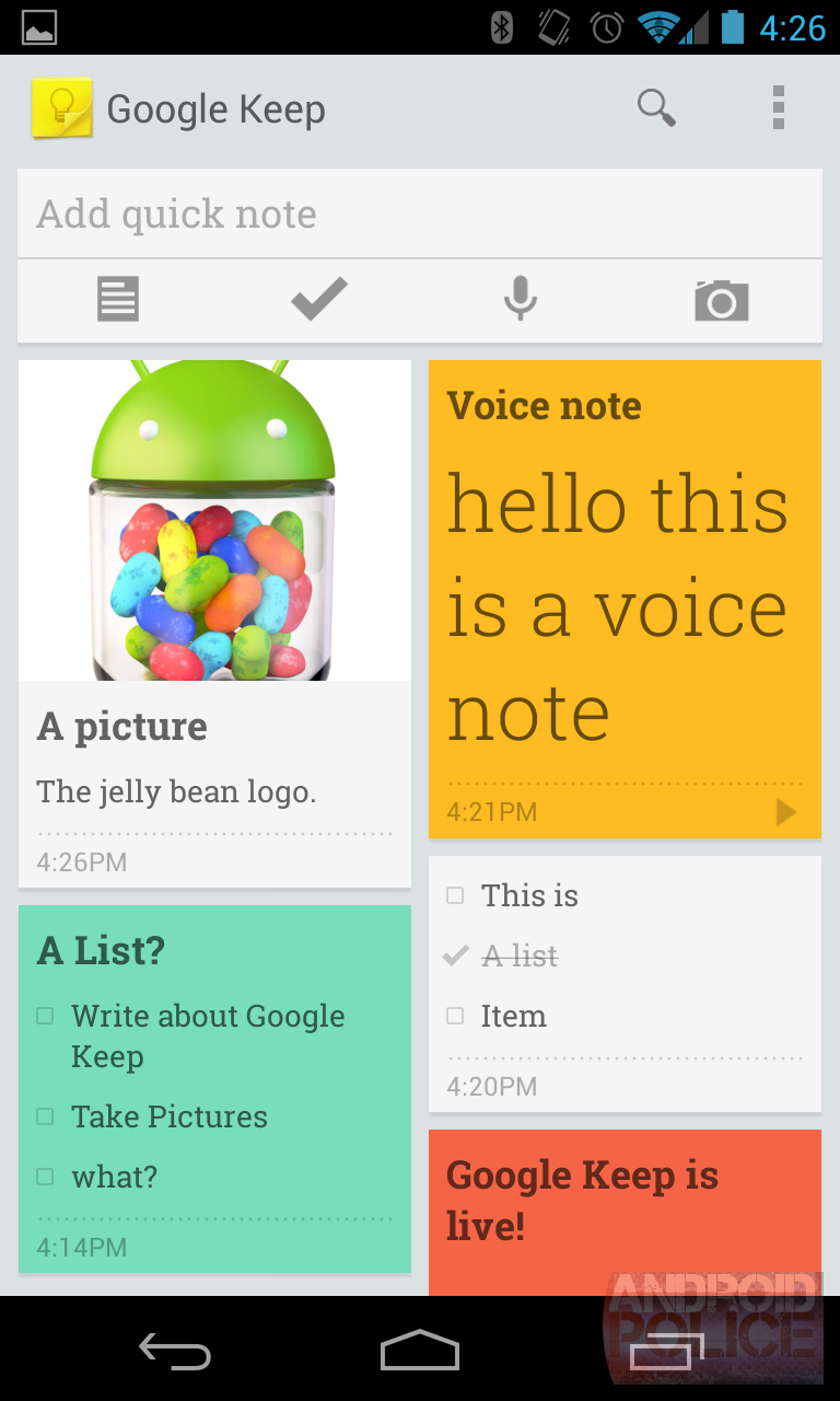 Hands-On With Google Keep For Android: Notes, Checklists, Voice