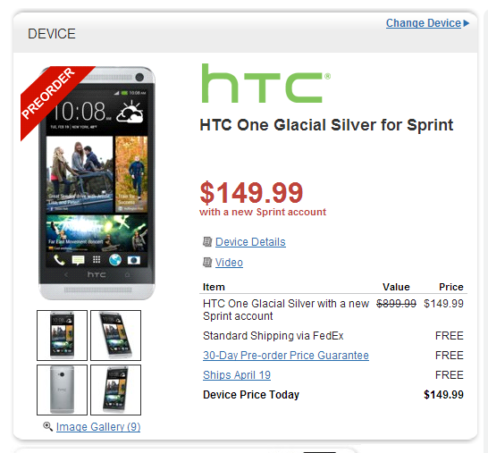 deal alert pre order sprint 39 s htc one for 150 from wirefly. Black Bedroom Furniture Sets. Home Design Ideas