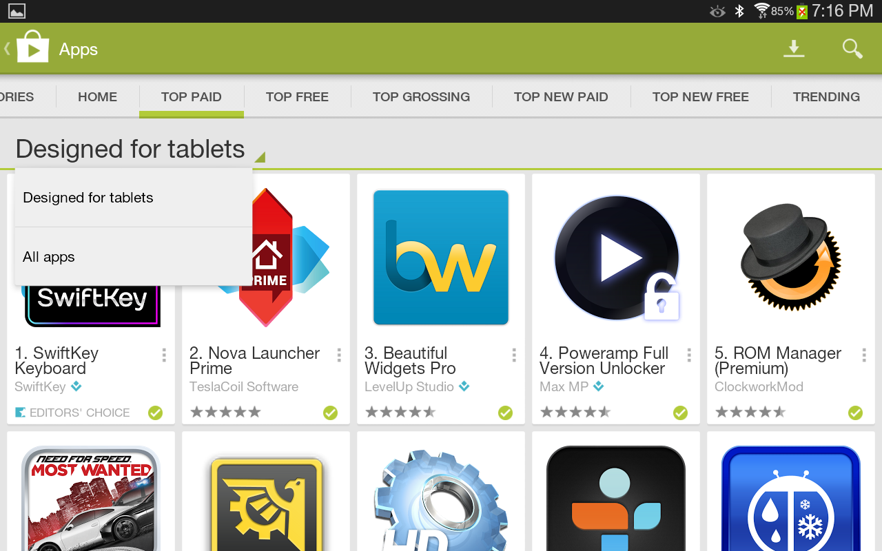 Tablet apps are now highlighted in the play store and so Play app