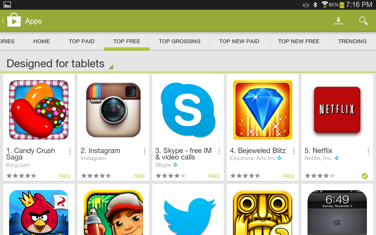 Tablet apps are now highlighted in the play store and so for App tablet android gratis