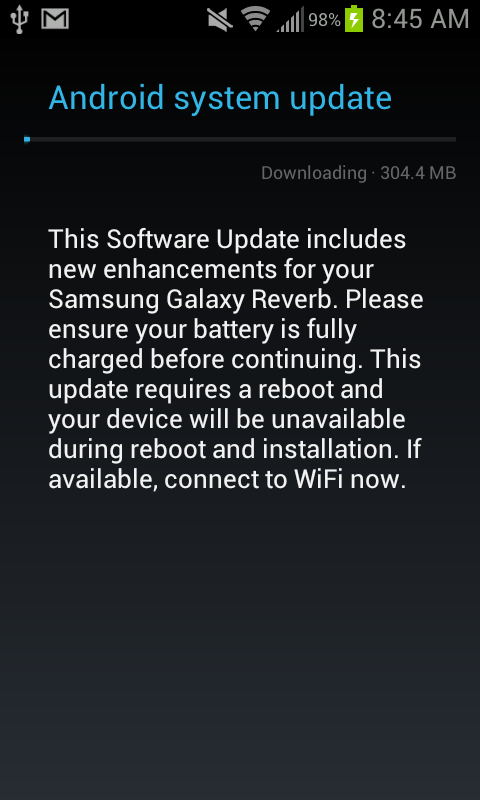 Suddenly, A Wild Jelly Bean 4.1 Update For Virgin Mobile's Samsung Galaxy Reverb Appears [Update: Official]