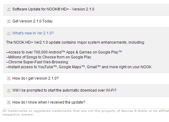 how to update nook hd with google play