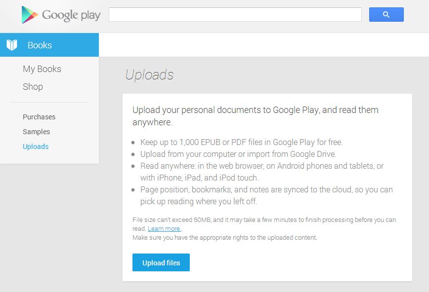 google play books updated to allow uploading your own