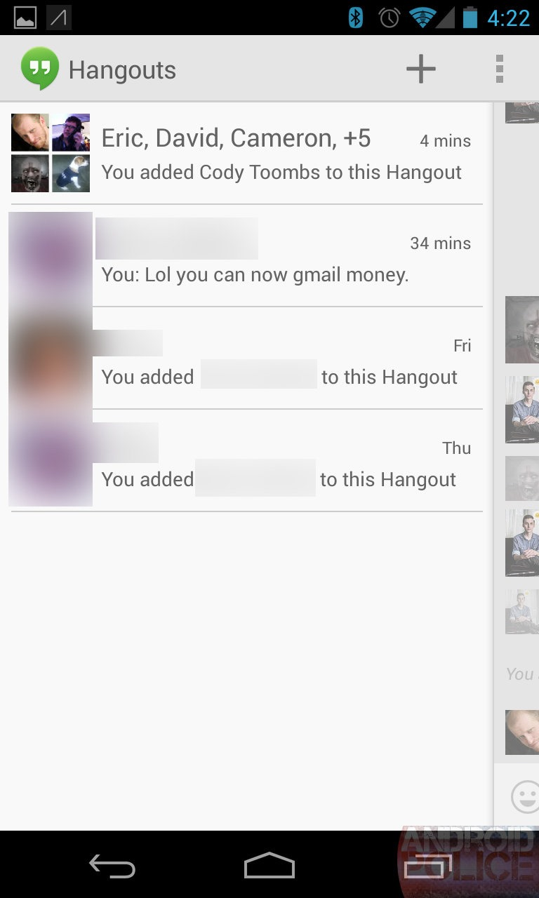 Hanging out with google hangouts googles new beautiful the hangouts list biocorpaavc Choice Image
