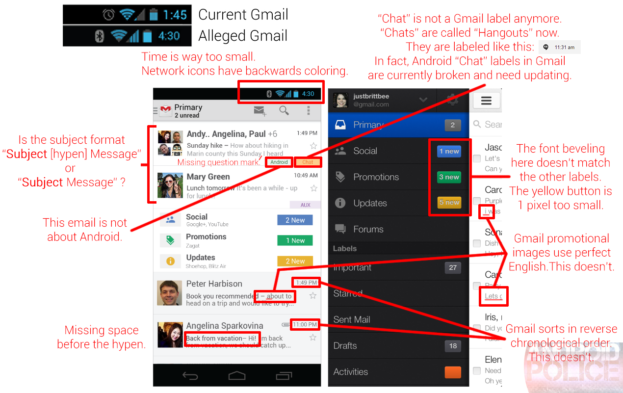Rumor: Redesigned Gmail App with 'Smartlabels' Feature Supposedly Launching This Wednesday, Very Sloppy Promotional Images Included