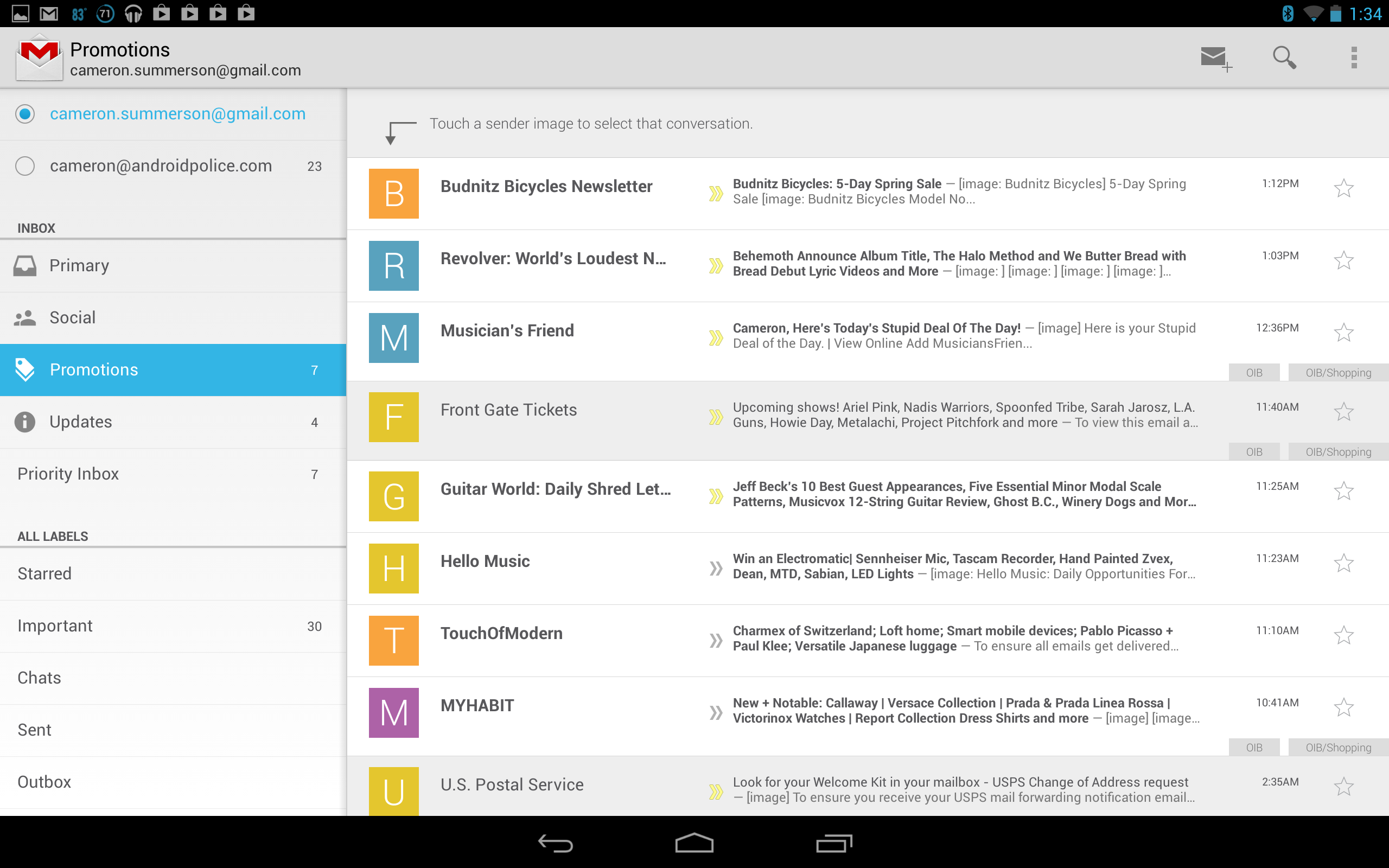 Download: New Gmail For Android v4.5 With Slide-Out Navigation And Brand New Inbox