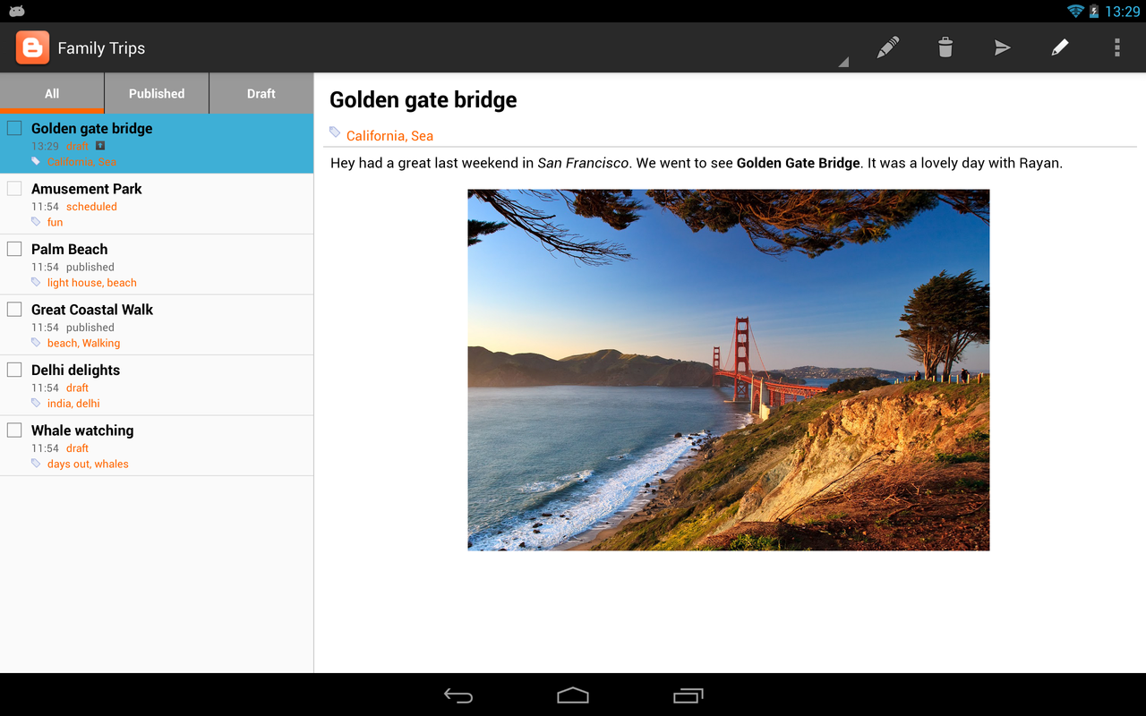 Google Blogger For Android Version 2.0 Introduces Tablet Support, Improved WYSIWYG Editor