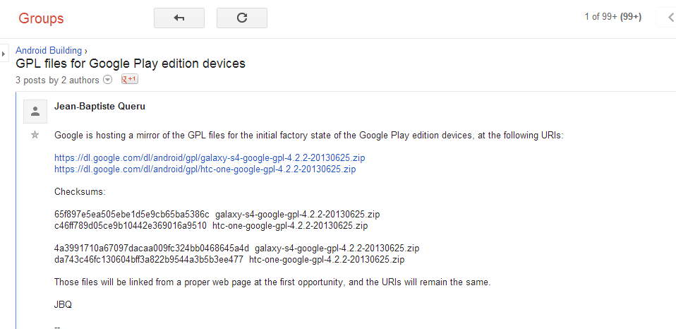 Google Releases Kernel And Platform Source Code For Google Play Editions Of HTC One And Samsung Galaxy S4