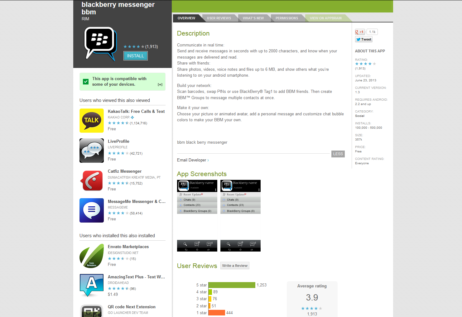 """PSA: This """"Blackberry Messenger BBM"""" Published By Developer RIM Has 100k+ Installs But Is As Fake As It Gets"""