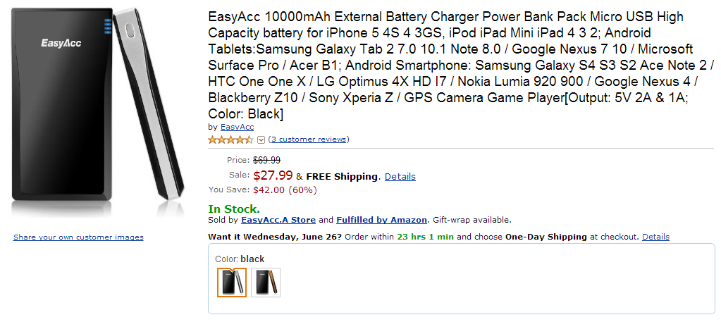[Deal Alert] EasyAcc 10,000mAh Portable Battery Pack Only $27.99, 12,000mAh $36.99 From Amazon