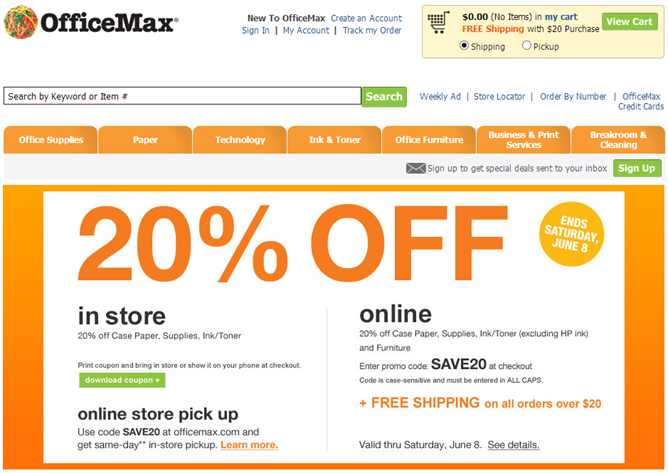 office max 20percent