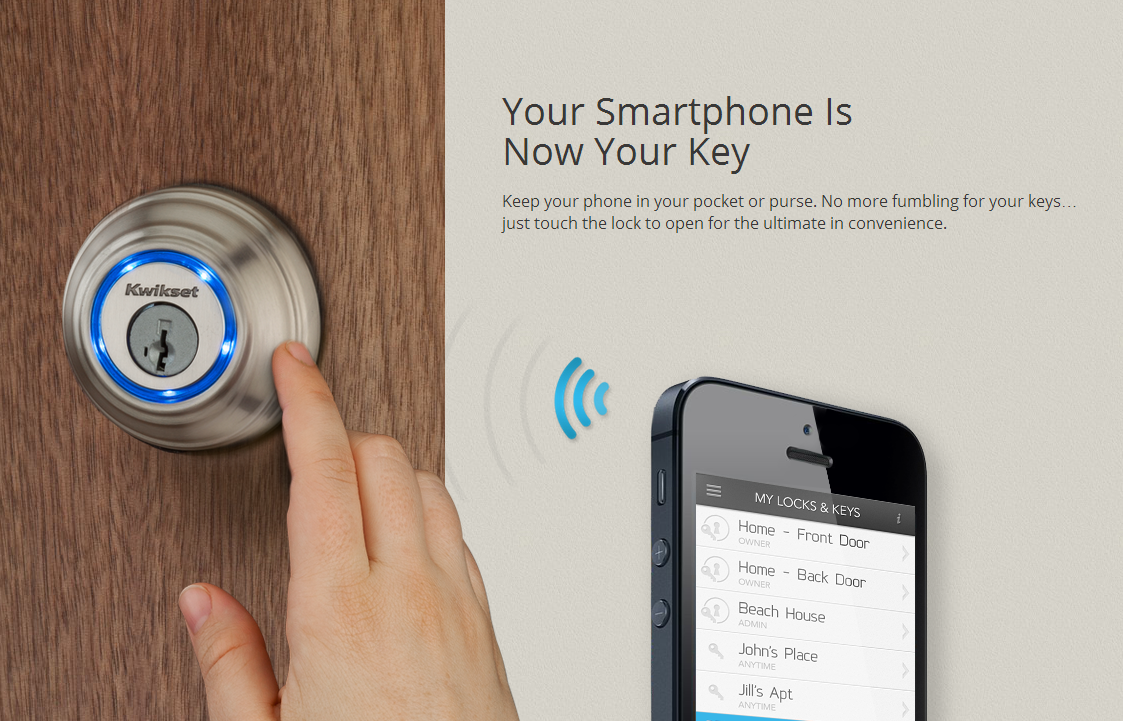 This Is Why You Probably Want The Kwikset Kevo Bluetooth Enabled Door Lock,  Which Can Turn Your Smartphone Into Your House Key. Security Without The  Hassle.