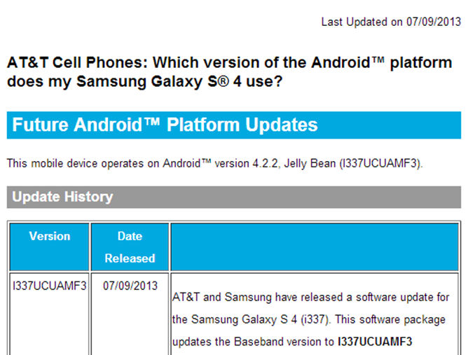 AT&T Galaxy S4 Receives Firmware Update To Version ...