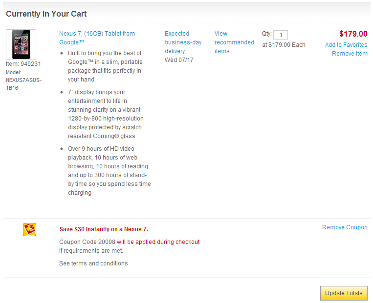 [Deal Alert] Nexus 7 Drops To $149 (16GB) And $169 (32GB) At Staples With Coupon Code