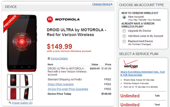 2013-08-06 12_06_12-DROID ULTRA by MOTOROLA - Red for Verizon Wireless - Wirefly.com and Android Pol