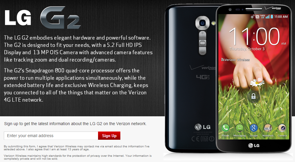 Verizon Signup Page Live For LG G2, Will Have Qi Wireless Charging