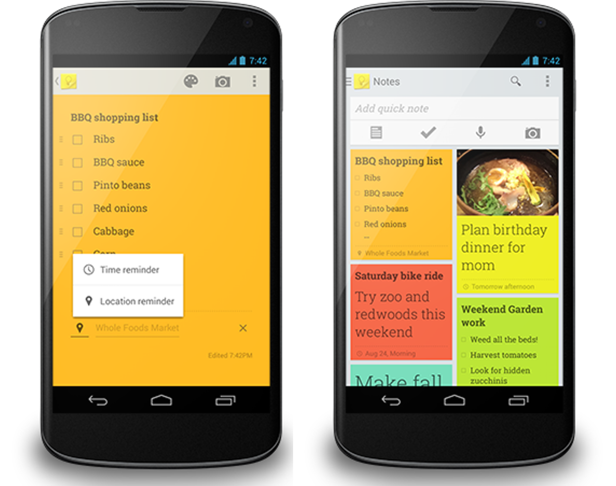 Google Keep App Gets Major Update - Supports Time / Location-Based Reminders, Adds Slideout Navigation, More Photo Options [Update: APK]