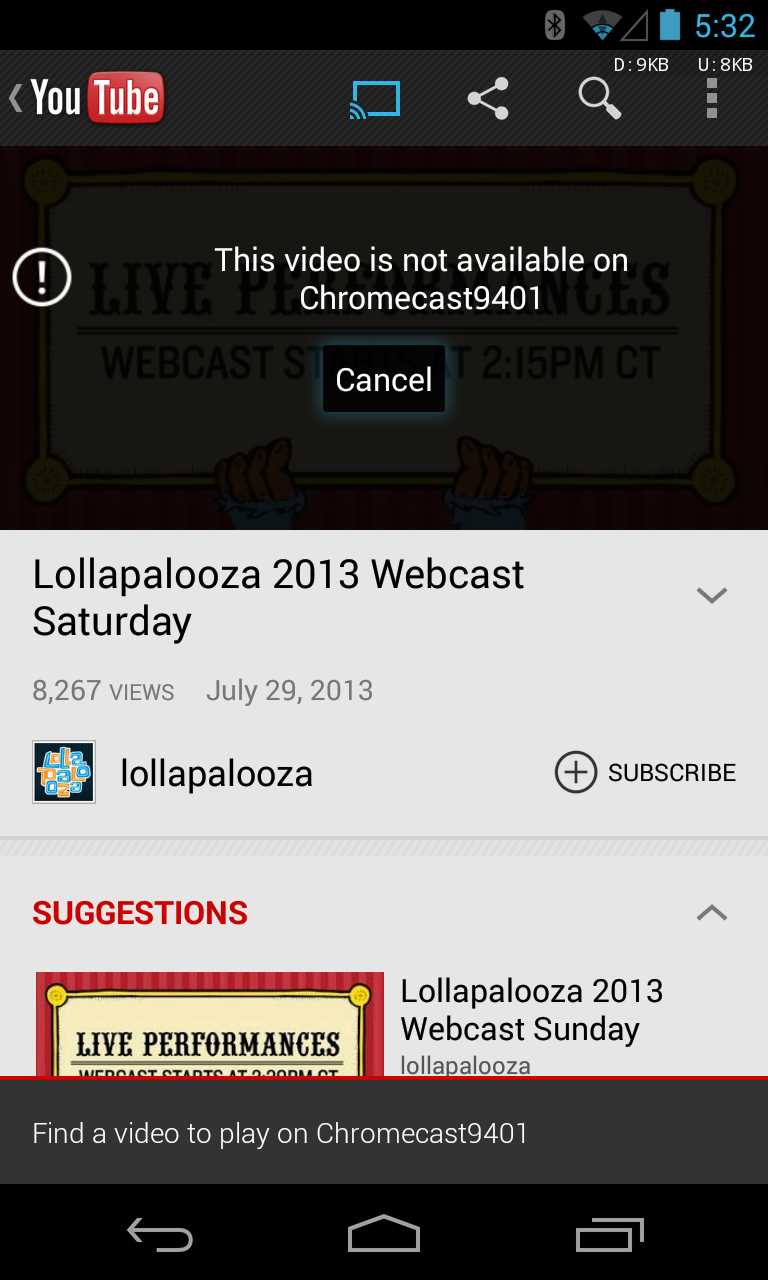 PSA: YouTube Live Streams, Private Videos, And Mobile-Disabled Videos Don't Work With The Chromecast