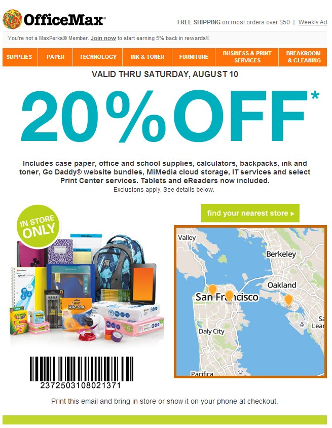 Deal Alert Office Max Coupon Entitles You To 20 Off Tablets Like The New Nexus 7 But Only In Store Through Aug 10th