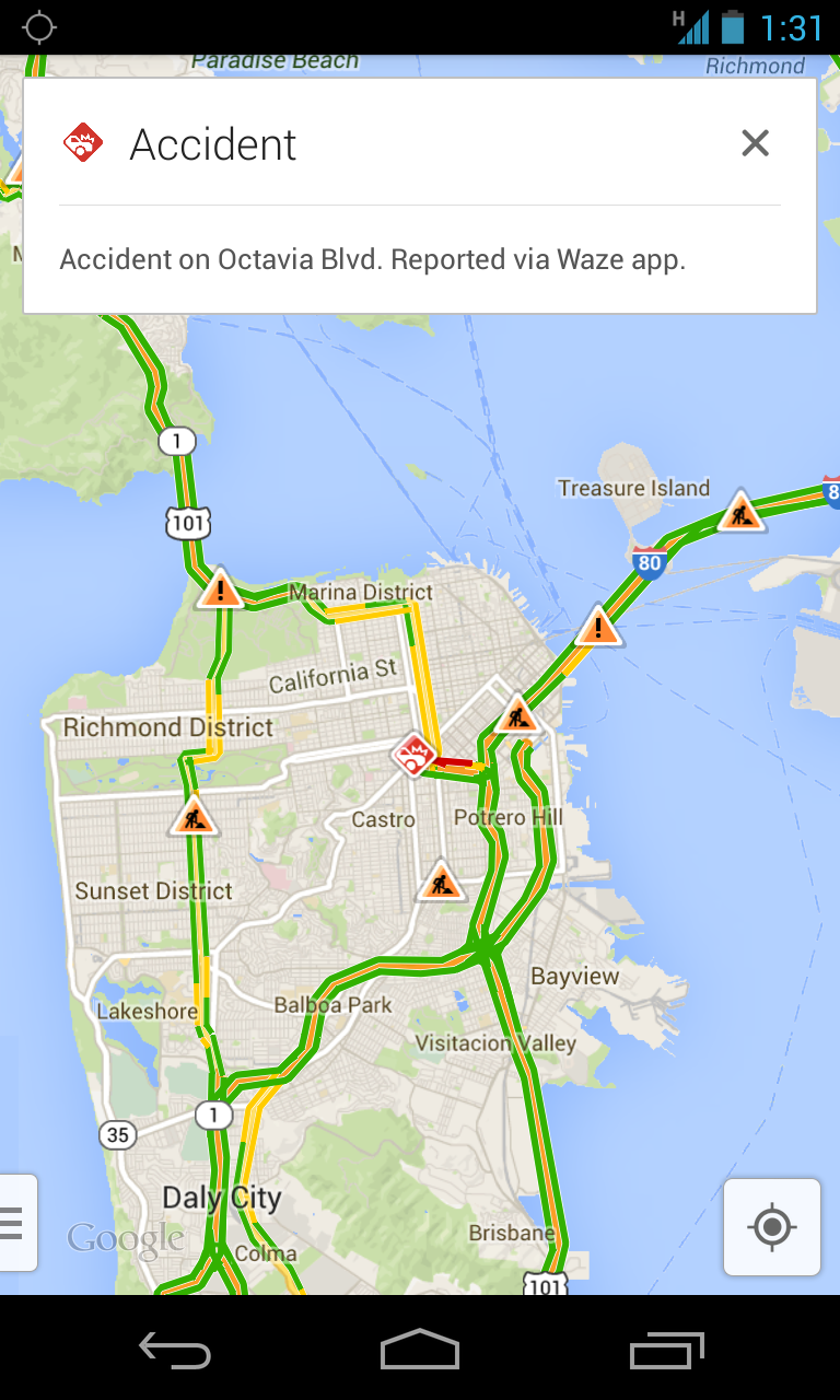 Google maps adds real time incident reporting courtesy of waze wazeincident gumiabroncs Choice Image