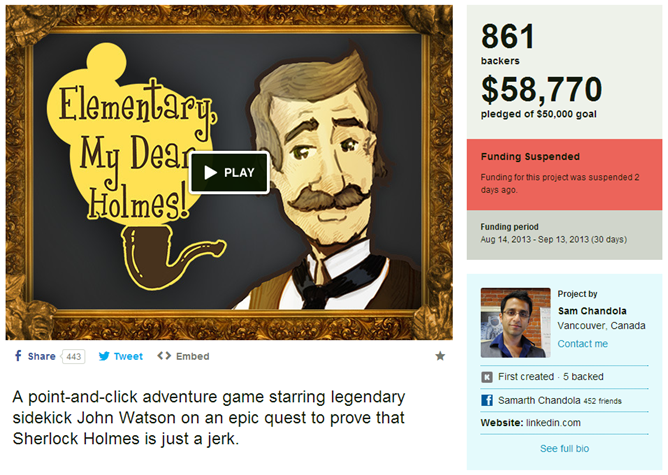 2013-09-08 23_31_29-Elementary, My Dear Holmes! (Suspended) by Sam Chandola — Kickstarter