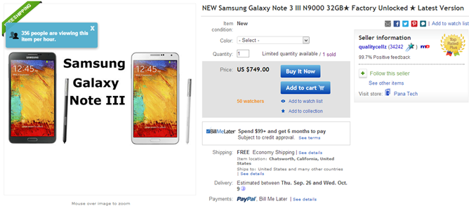 2013-09-25 01_59_49-New Samsung Galaxy Note 3 III N9000 32GB★ Factory Unlocked ★ Latest Version _ eB