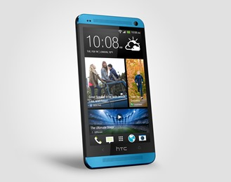 HTC One Vivid Blue Perspective Left