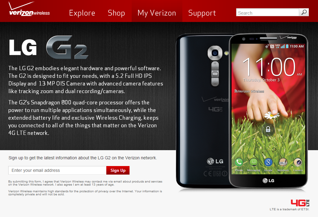 LG G2 Launching On Verizon September 12th For $200, T-Mobile Gets It