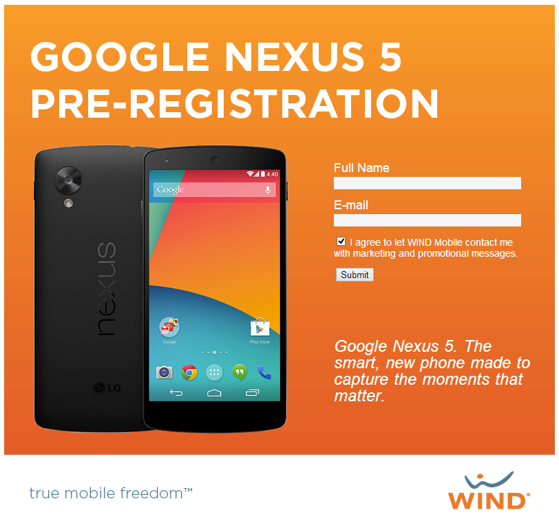 Nexus 5 Pre-Registration Page Goes Live For Wind Mobile In ...