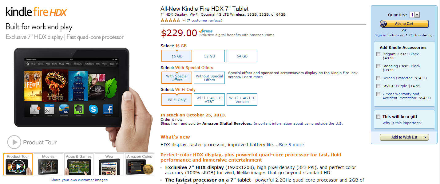 """7"""" Kindle Fire HDX Starts Shipping Today, Available Online Starting At $229.00 With Special Offers"""