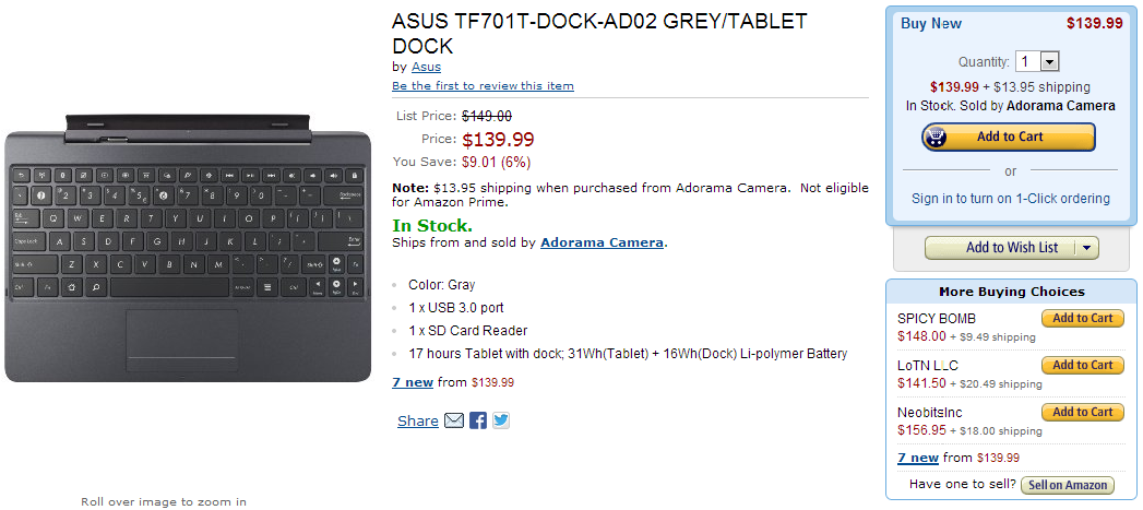 Tegra 4-Powered ASUS Transformer Pad Infinity TF701T Goes Up For Sale In The US On Amazon