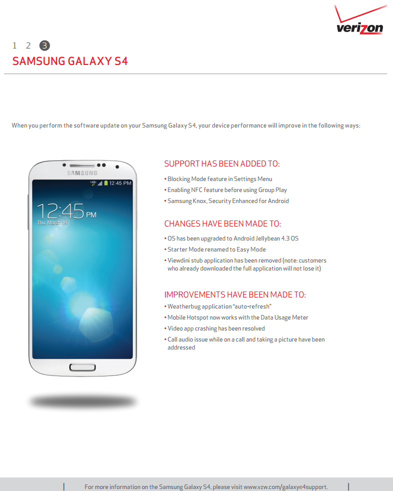 Verizon Galaxy S4 Software Update Page Now Lists Android 4 3 OTA