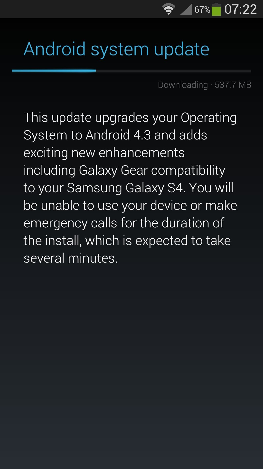 Android 4 3 And Galaxy Gear Update For Sprint's Galaxy S4 Is
