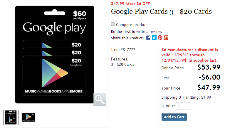 Google Play Multi Pack 3 10 Gift Cards - Gift Ideas