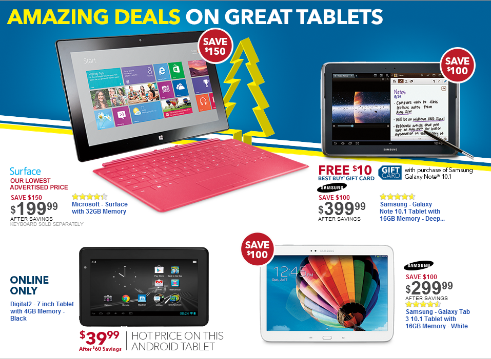 Black Friday Tablet Deals are NOT live yet. Following are latest handpicked Tablet deals. Best Black Friday Tablet Deals. Following are some of the Best Black Friday Tablet Deals offered by stores during their Black Friday Sale. Deals will go live when Store's Black Friday Sale starts.