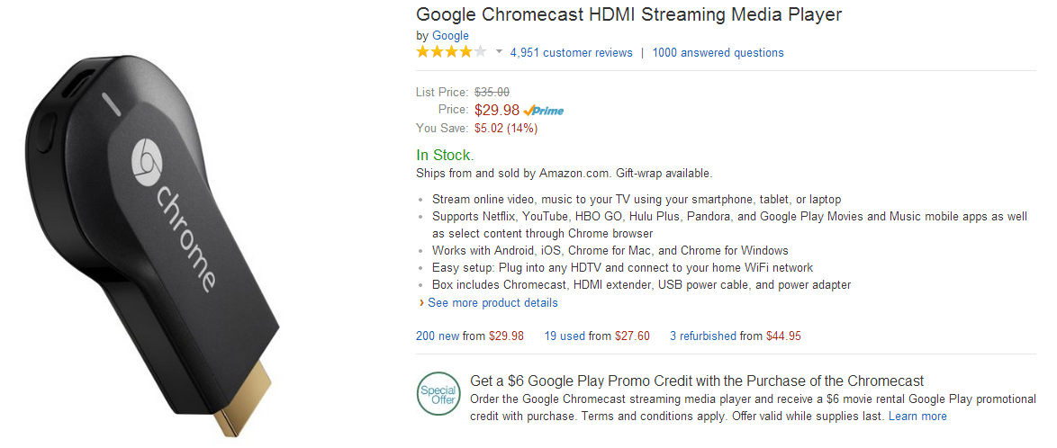 Deal Alert] Amazon And Best Buy Both Offer The Chromecast At